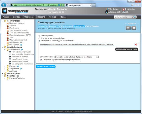 Envoyez un Emailing automatisé à vos Contacts ayant rempli un de vos Formulaire Web