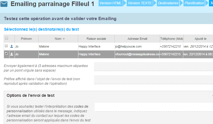 Exemple édition emailing étape 5