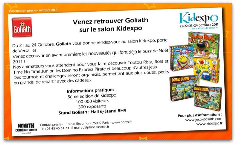 Emailing goliath nous invite sur son stand kidexpo for Exemple de stand pour salon