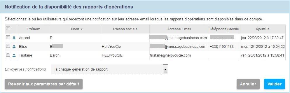 Recevez les notifications de disponibilité des rapports