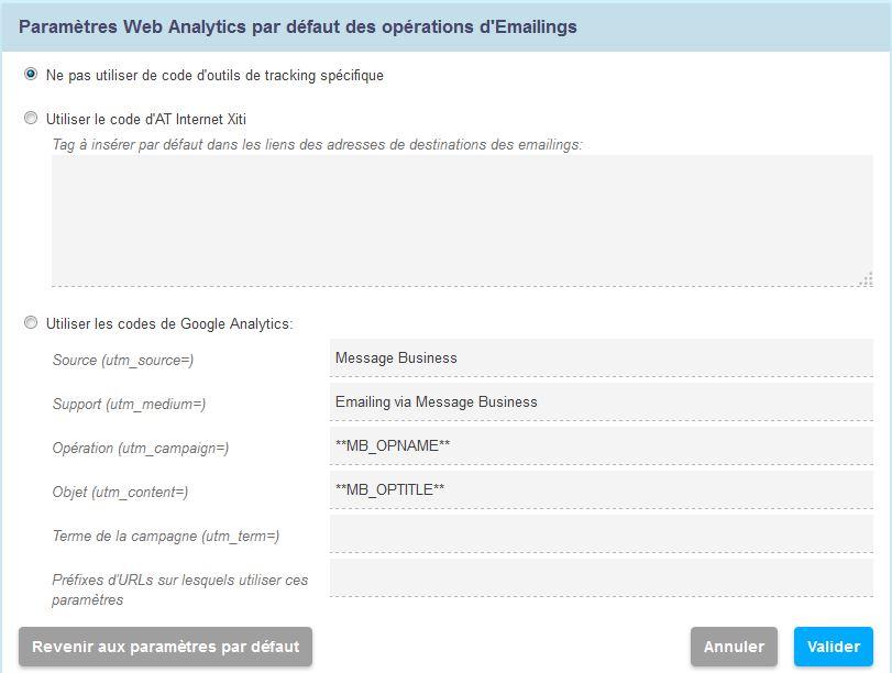 Paramètrez Google Analytics