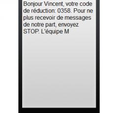 SMS rédigé à l'aide de l'application Message Business. Exemple de procédure de désabonnement.
