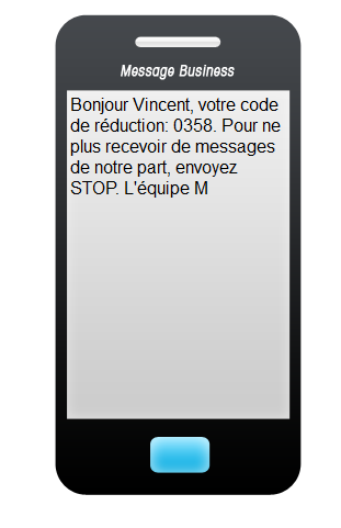 SMS rédigé à l'aide de l'application Message Business. Exemple de procédure de désabonnement.