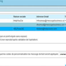 Copie ecran application Message Business Paramètres de Test