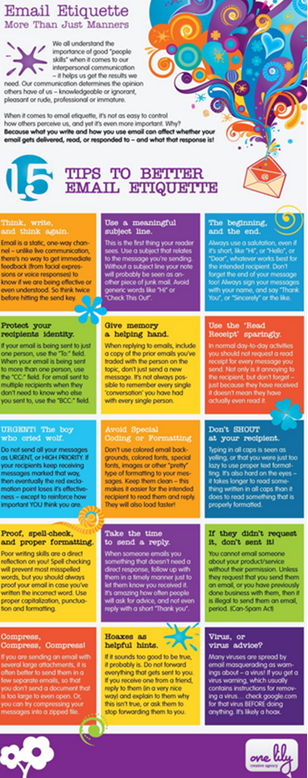 Infographic Email Etiquette, 15 tips to better email etiquette