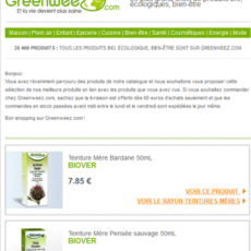 Emailing de relance Greenweez