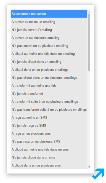 Capture d'écran de l'application Message Business représentant divers types de comportements