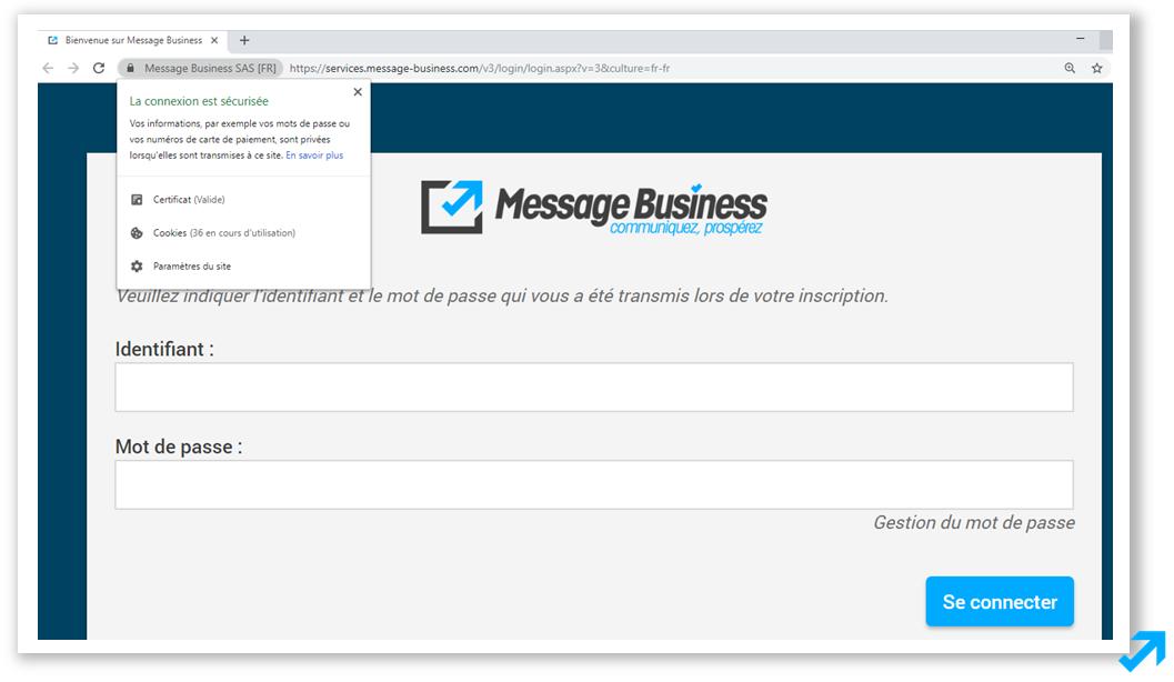 Module de connexion à l'application sécurisée Message Business