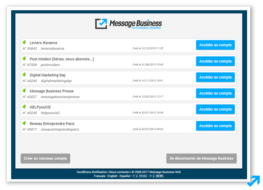 Interface de connexion à vos différents comptes dans l'application Message Business