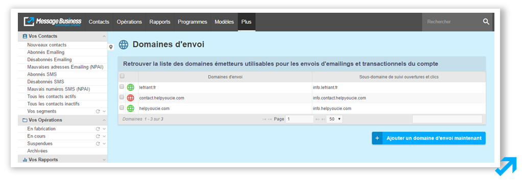 Gestion multidomaine d'envoi dans l'application Message Business