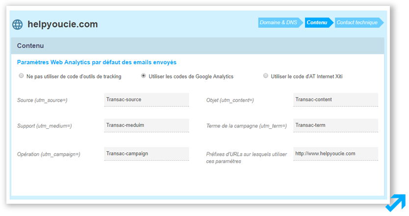 Configuration du suivi Google Analytics dans l'application Message Business