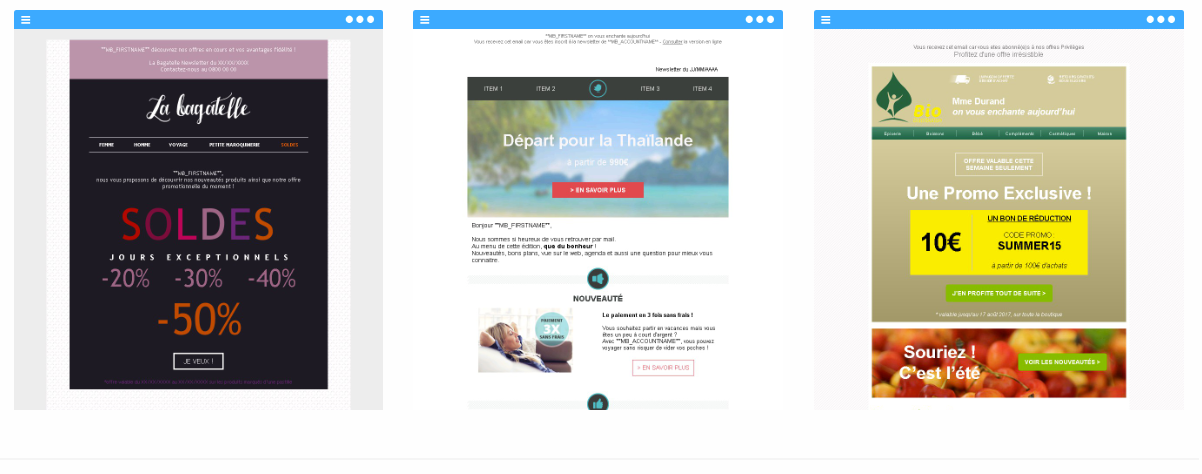 Exemple de la collection jolis emailings Message Business