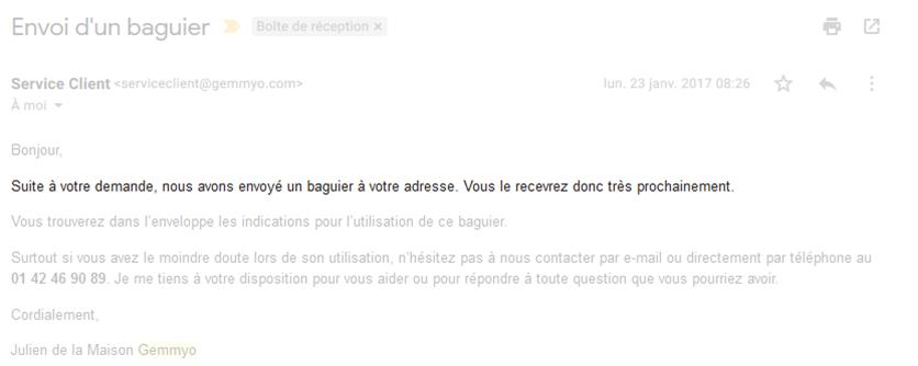 Emailing d'envoi d'un baguier Gemmyo