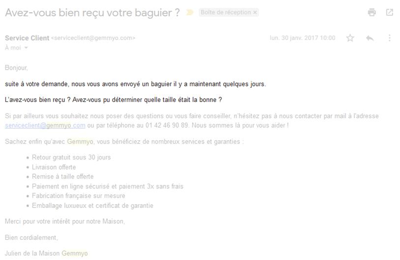 Emailing de confirmation de réception d'un baguier Gemmyo